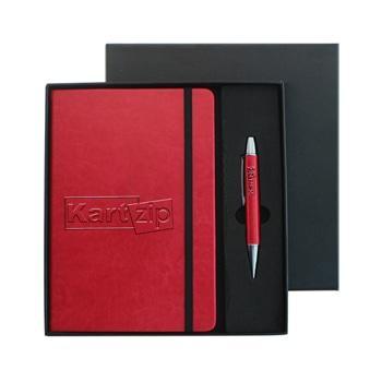 دفتر ملاحظات فاخر مع قلم معدني بغلاف جلدي