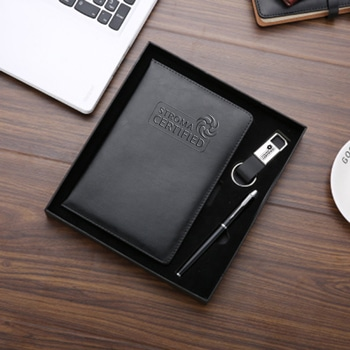 A5 Size PU Leather Notebook & Pen Gift Set with Leather Keychain
