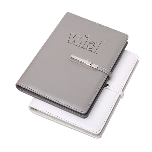 A5 Size Leather Cover Notebook with Executive Pen Image 1