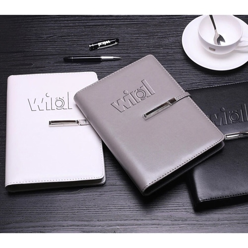 A5 Size Leather Cover Notebook with Executive Pen Image 2