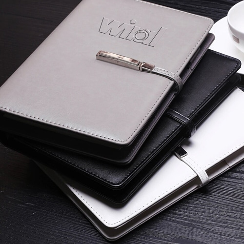 A5 Size Leather Cover Notebook with Executive Pen Image 4