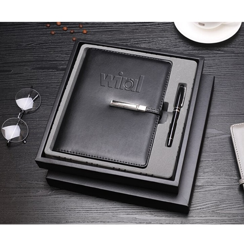 A5 Size Leather Cover Notebook with Executive Pen Image 5