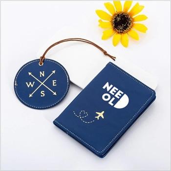 مجموعة مكونة من بطاقة ملاحظة جلدية لحفظ الأمتعة و غلاف جواز السفر