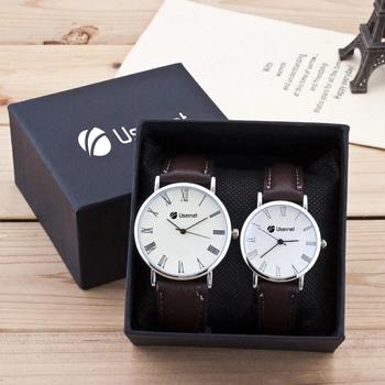 مجموعة ساعات يد بقطعتين بحزام جلدي للأزواج