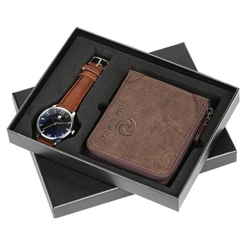 Mens Zipper Wallet & Wrist Watch Gift Set