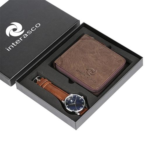 Mens Zipper Wallet & Wrist Watch Gift Set Image 1