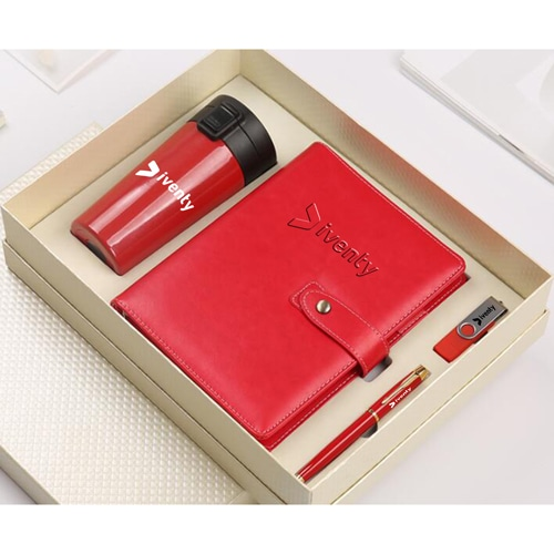 Leather Notebook & USB Flash Drive Gift Set with Executive Pen & Vaccum Cup Image 1