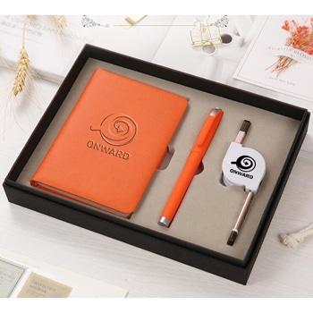 دفتر ملاحظات منظم مخطط مع قلم و كابل 3 في 1 قابل للسحب