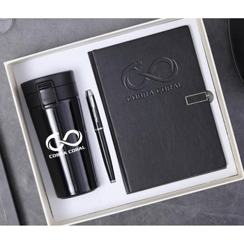 A5 Size Leather Diary & Pen Gift Set with Thermos Mugq