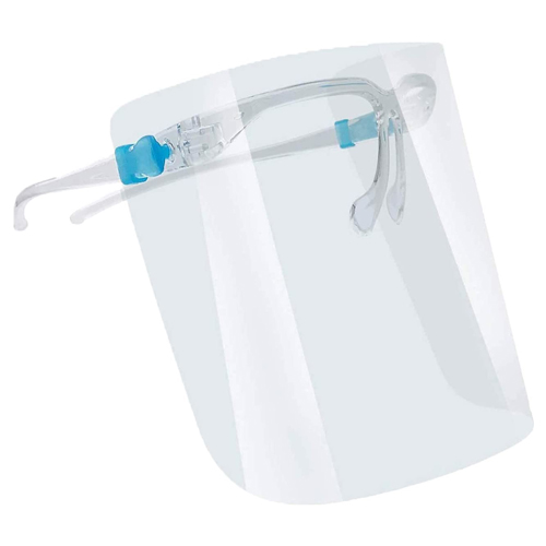 Fully Transparent Face Shield with Reusable Glasses Eye Protection
