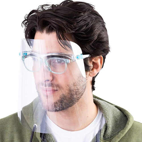 Fully Transparent Face Shield with Reusable Glasses Eye Protection Image 2