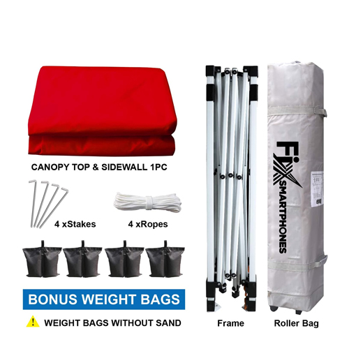 Custom Instant Outdoor Canopy with Wheeled Carry Bag, 1 Side Wall, 4 Sand Bags