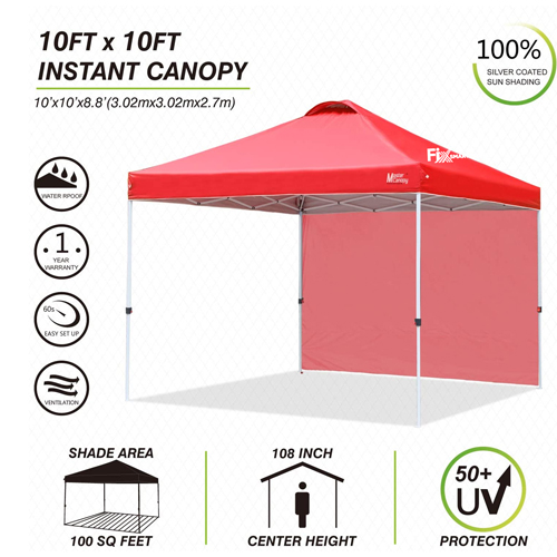 Custom Instant Outdoor Canopy with Wheeled Carry Bag, 1 Side Wall, 4 Sand Bags Image 2