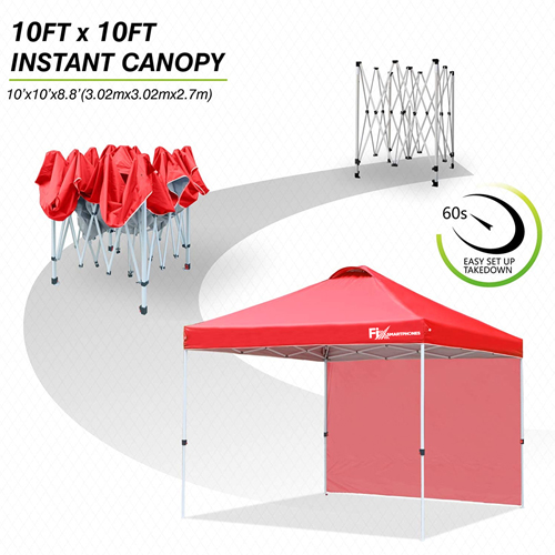 Custom Instant Outdoor Canopy with Wheeled Carry Bag, 1 Side Wall, 4 Sand Bags Image 3