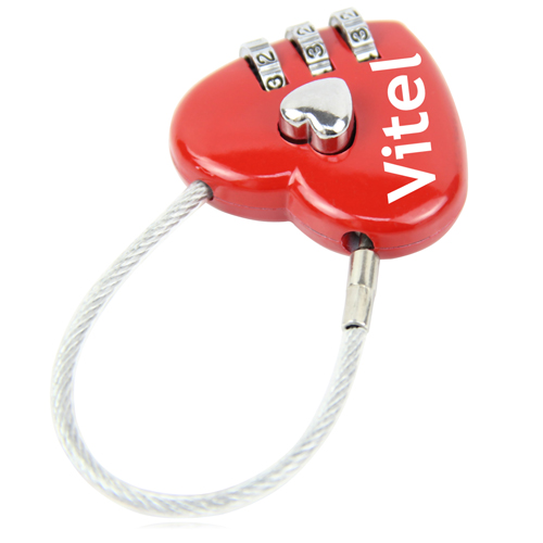 3 Dial Heart Shape Travel Padlock Image 1