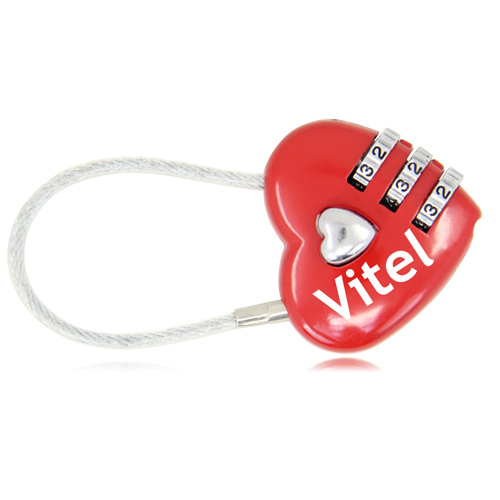 3 Dial Heart Shape Travel Padlock Image 4