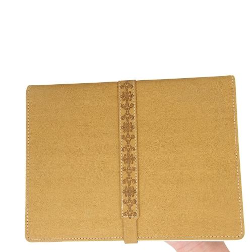 Button Strap Leather Padfolio