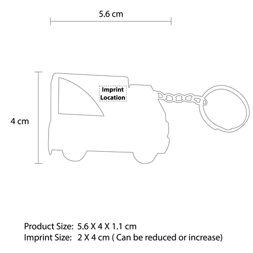 Truck Shape Measuring Tape Keychain Imprint Image