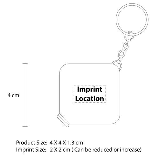 Soft Square Tape Keychain Imprint Image