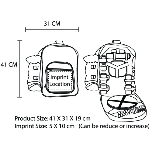 Luxury Picnic Backpack For 4 Imprint Image