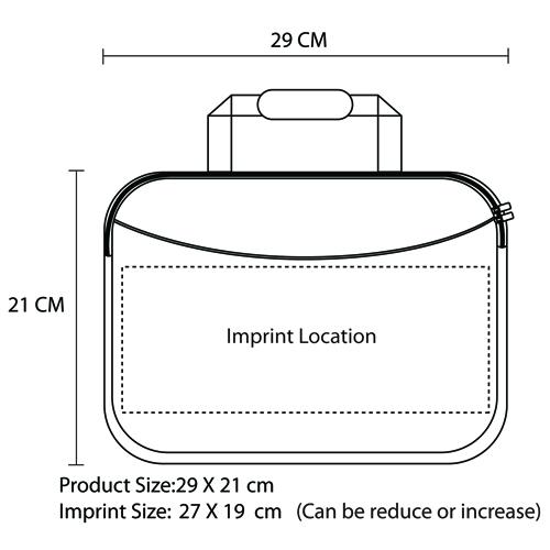 10 Inch Handle Neoprene Zippered Tablet Bag Imprint Image