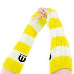 Striped Fingerless Elbow Length Gloves