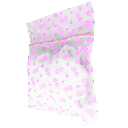 Floral Mesh Zippered Laundry Bag