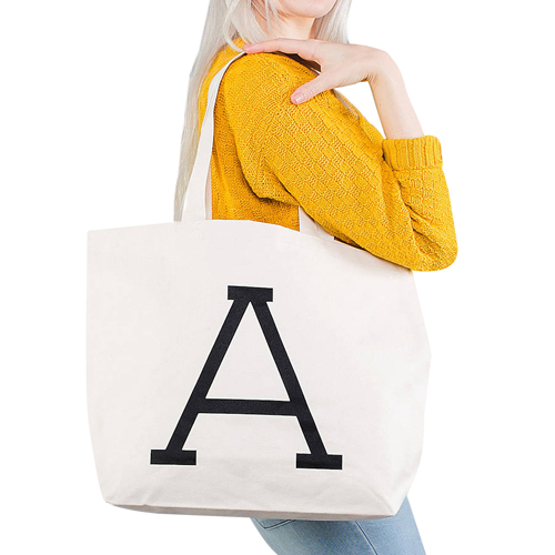 Zippered Closure Cotton Canvas Tote Bag