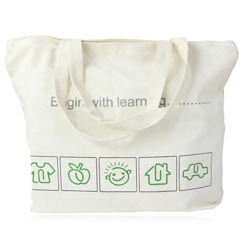 Zippered Closure Cotton Canvas Tote Bag Image 5