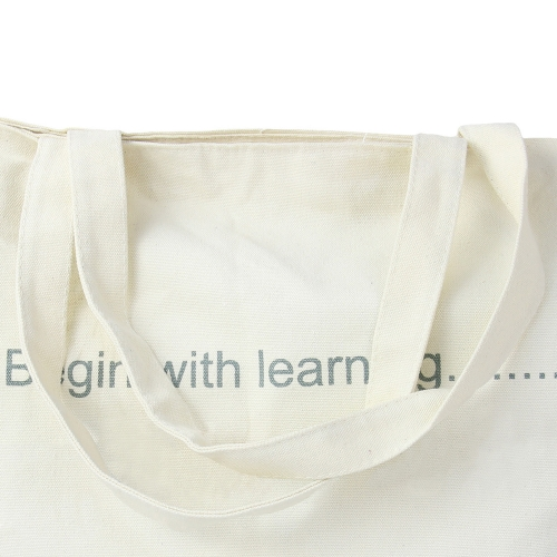 Zippered Closure Cotton Canvas Tote Bag Image 6