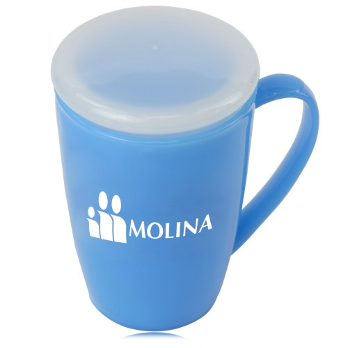 Tapered Plastic Mug With Lid Image 1