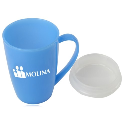 Tapered Plastic Mug With Lid Image 2