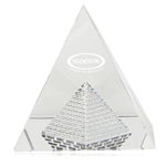 Crystal Brick Inside Pyramid Paperweight