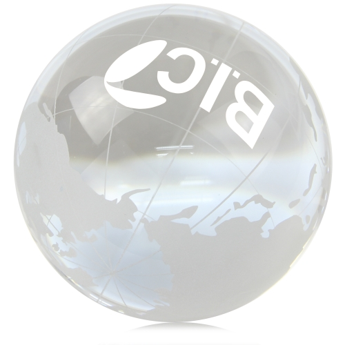 Medium Clear Crystal Globe Paperweight Image 1