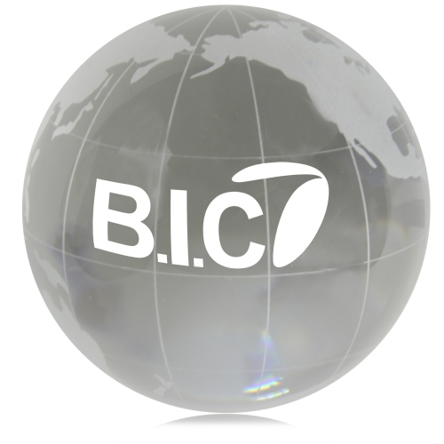 Medium Clear Crystal Globe Paperweight Image 2
