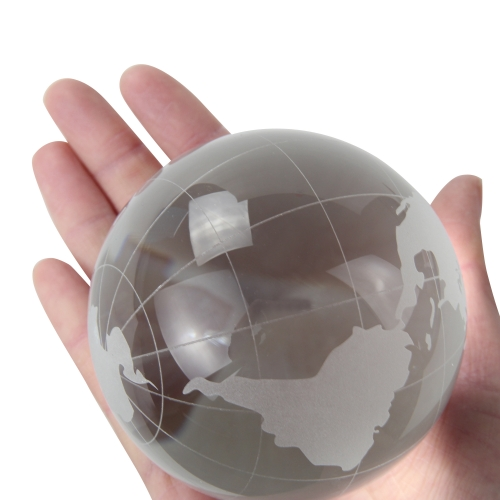 Medium Clear Crystal Globe Paperweight Image 5