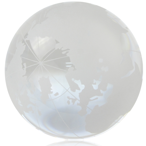 Medium Clear Crystal Globe Paperweight Image 6