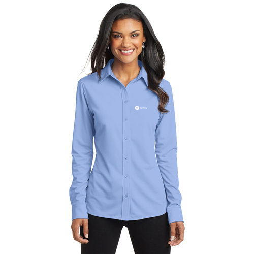 Pinstripe Women Dress Shirt Image 1
