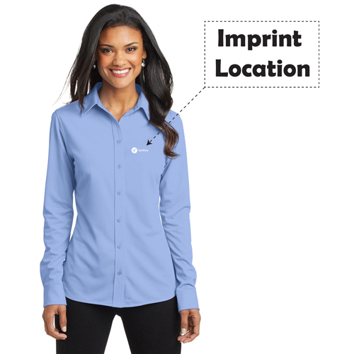 Pinstripe Women Dress Shirt Imprint Image