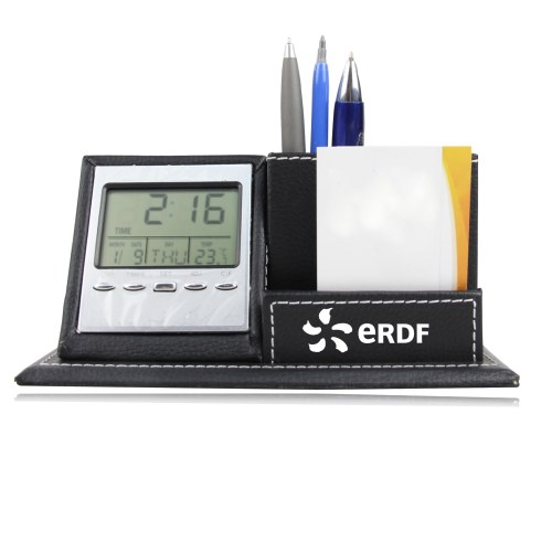 Multifunctional Leather Clock Pen Stand Image 3