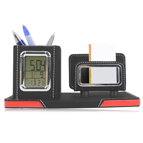 Leather Card And Pend Holder Clock