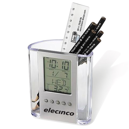 Transparent Calendar Time Pen Holder