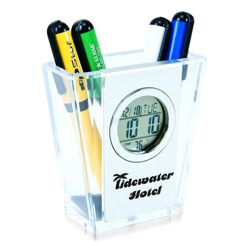 V Pen Holder With Calendar Clock