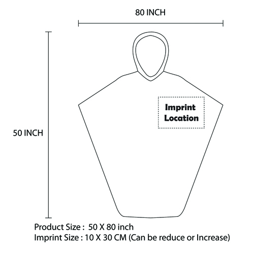 Disposable Reusable Rain Poncho Imprint Image