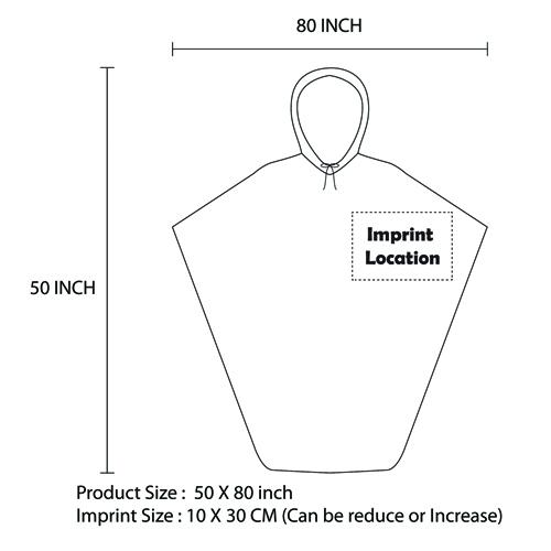 Reusable Hooded Rain Poncho With Drawstring