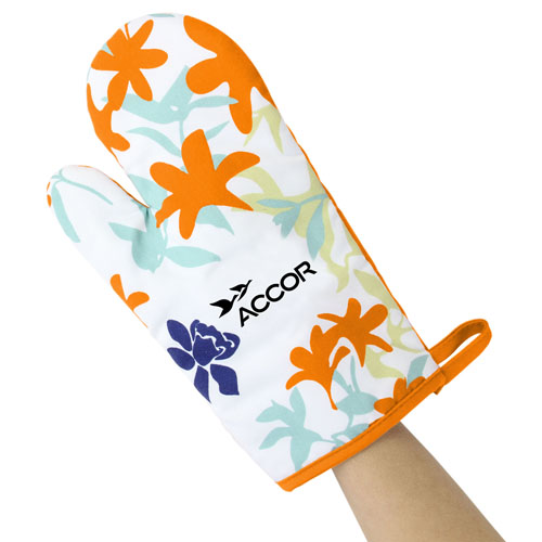 Colorful Flowers Design Cotton Oven Mitt