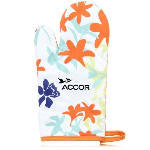Colorful Flowers Design Cotton Oven Mitt