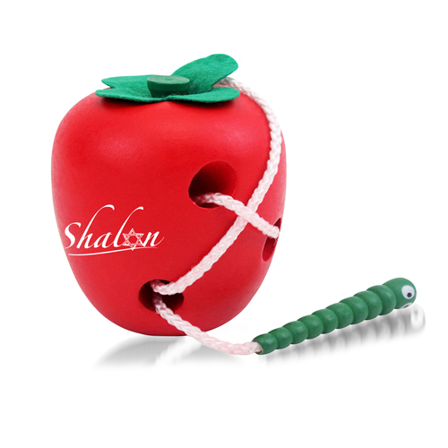 Creative Wooden Worm Eating Apple