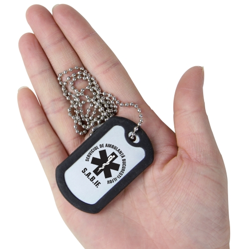 Rectangle Dog Tag With Rubber Silencer
