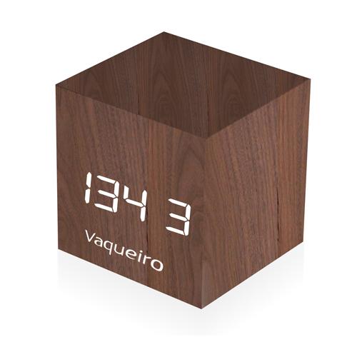 Wooden Cube Alarm Clock